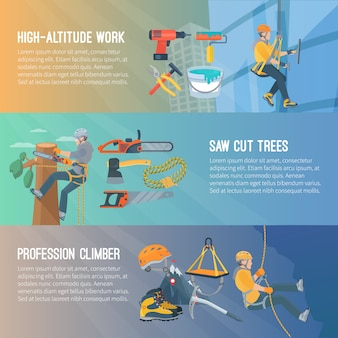 Horizontal flat color banner about high-altitude work saw cut trees profession climber vector illustration