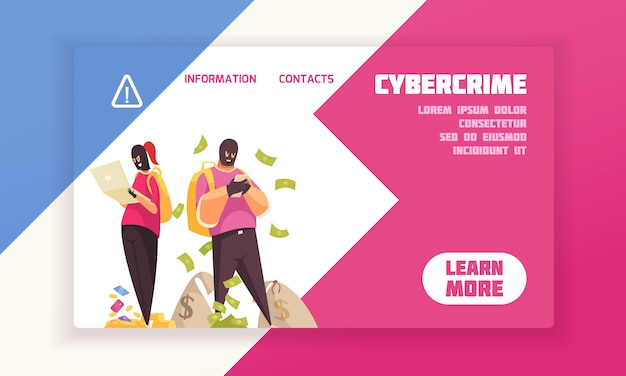 Horizontal and flat hacker concept banner with cybercrime headline and learn more button vector illustration