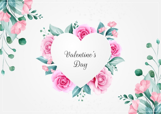 Horizontal flowers valentine's day background with heart floral frame