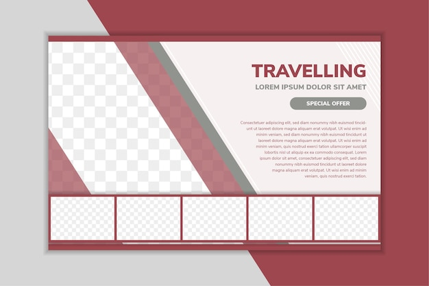 Horizontal flyer design template for travelling diagonal and rectangle shape for space for photo