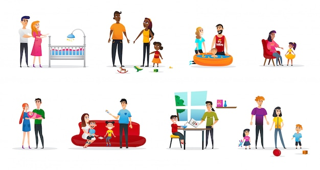 Horizontal flyer set parenting, cartoon flat