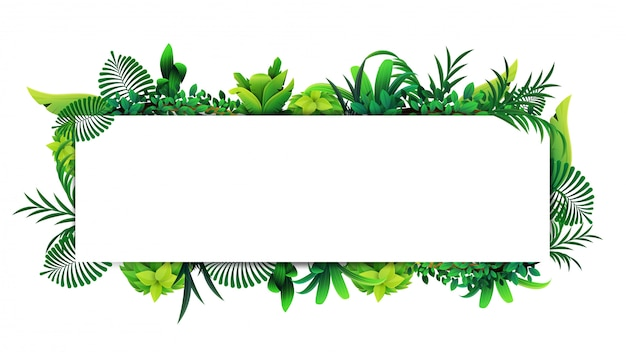 Horizontal frame of tropical leaves around a white empty rectangle. layout of a border made of tropical elements