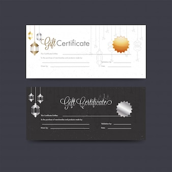 Horizontal gift certificate or voucher layout set with hanging l