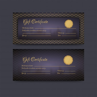Horizontal gift certificate or voucher layout in two option.