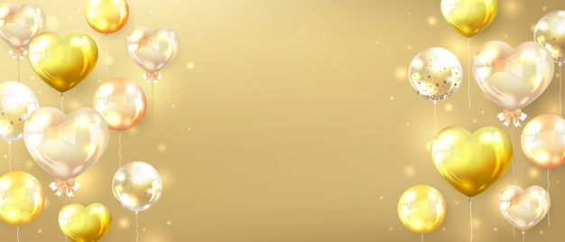 Horizontal gold banner decorated with glossy golden balloons