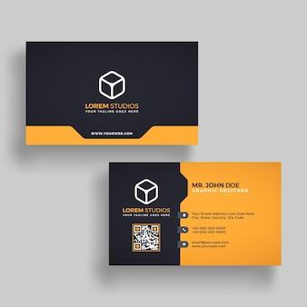 Горизонтальная золотая и черная визитная карточка с передней и задней презентацией.