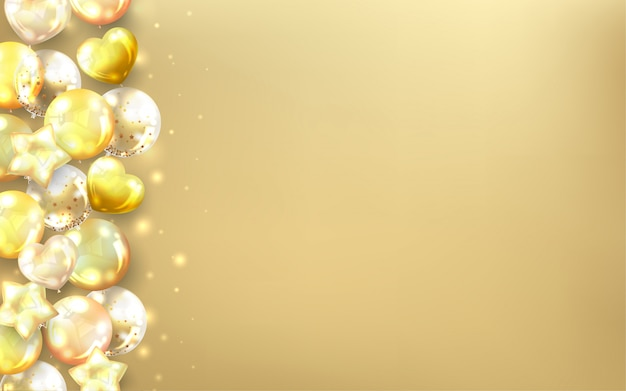 Horizontal golden premium balloons background.