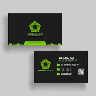 Горизонтальная зеленая и черная визитная карточка с представлением спереди и сзади.