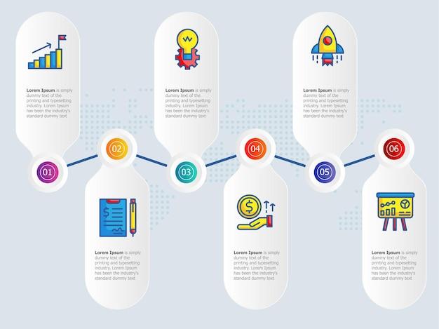 Инфографика графика горизонтального роста 6 шагов с шаблоном значка для бизнеса и презентации