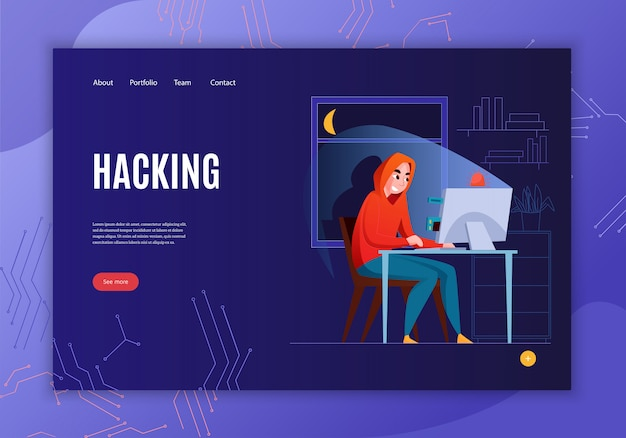 Horizontal hacker concept banner with hacking headline see more button and four link  illustration