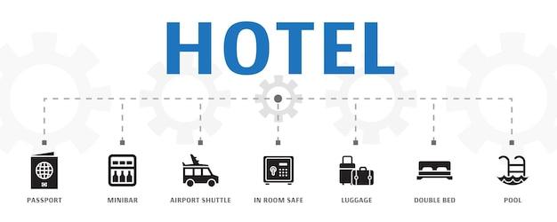 간단한 아이콘으로 수평 호텔 배너 개념 템플릿입니다. 여권, 미니바, 공항 셔틀 등의 아이콘이 포함되어 있습니다.