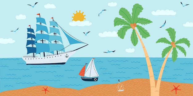 Horizontal illustration with seascape in flat style . summer time with ships, a palm tree, a boat.