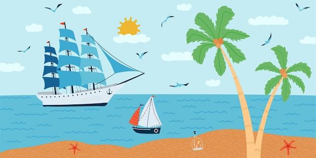Горизонтальная иллюстрация с морским пейзажем в плоском стиле. летнее время с кораблями, пальмой, лодкой.