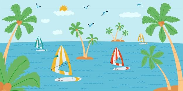 Горизонтальная иллюстрация с морским пейзажем в плоском стиле. летнее время с доской для серфинга, пальмой, лодкой.