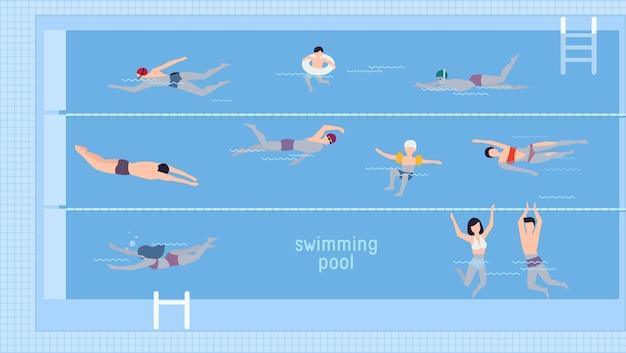 수영장에서 수영하는 사람들과 수평 그림입니다. 평면도. 다양한 사람들과 물 속의 아이들은 다른 방식으로 수영합니다. 텍스트에 대 한 장소를 가진 평면 스타일에 화려한 벡터 배경.