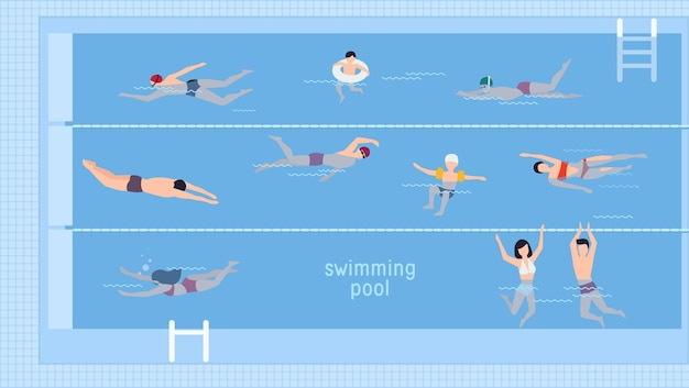 Horizontal illustration with swimmers in swimming pool. top view. various people and kids in water, swim in different ways. colorful vector background in flat style with place for text.
