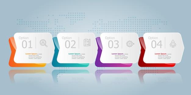 ビジネスアイコン4オプションベクトルイラスト背景と水平インフォグラフィックプレゼンテーション要素テンプレート