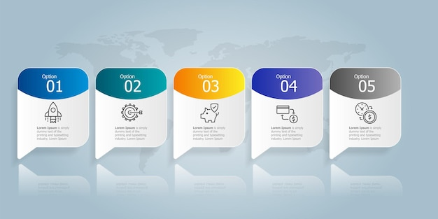 ビジネスアイコン5オプションベクトルイラスト背景と水平インフォグラフィックプレゼンテーション要素テンプレート