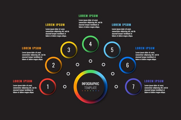 Horizontal infographic template with seven multicolor round elements on a black background