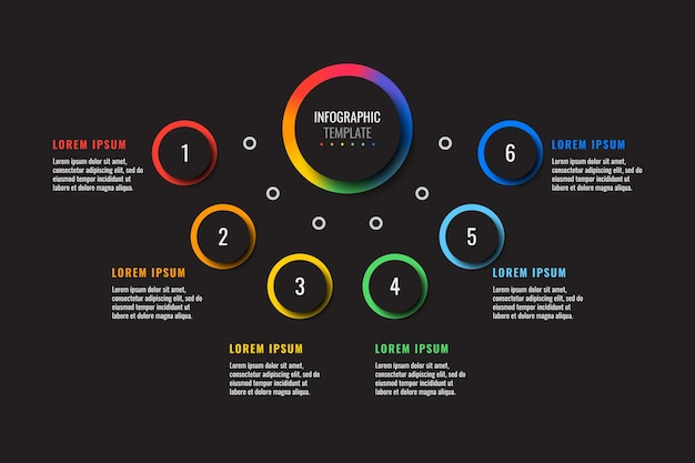 Horizontal infographic template with six multicolor round elements on a black background