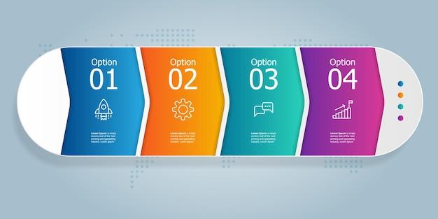 Горизонтальная презентация элемента инфографики с бизнес-значками 4 шага векторные иллюстрации фона