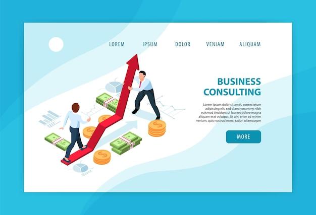 2人のビジネスマンが互いに相談し、助け合う水平アイソメトリックコンセプトのランディングページ3d