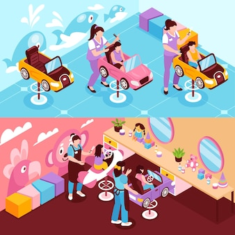 Horizontal isometric illustrations with children beauty salon