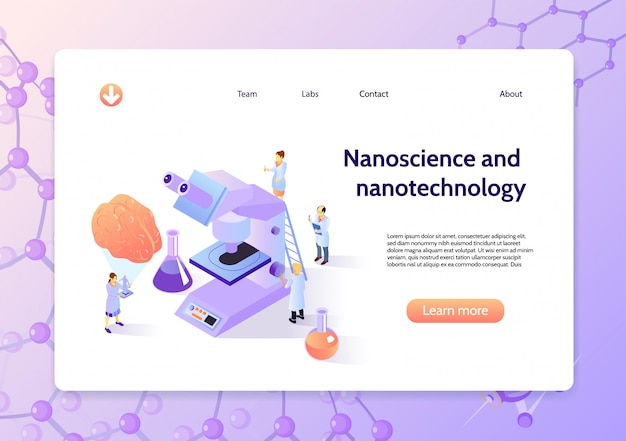 Horizontal isometric nanotechnology concept banner with nanoscience and nanotechnology headline and learn more button