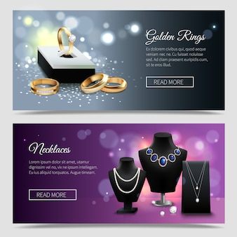 Horizontal jewelry realistic banners with golden rings and elegant necklaces on mannequins