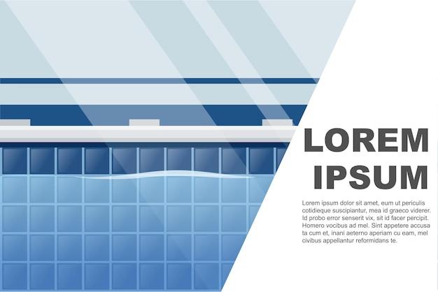 Горизонтальная планировка профессионального бассейна с плоской векторной иллюстрацией баннера с видом на воду и местом для текста
