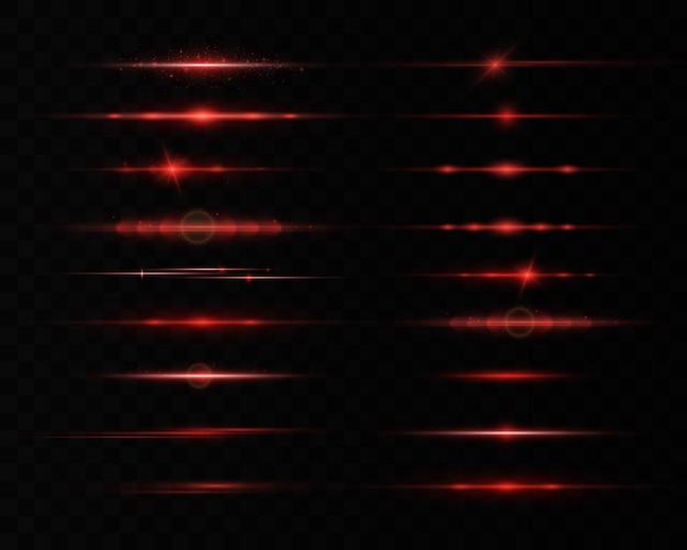 水平レンズフレアパック、レーザービーム、美しい光フレア。光線。グローライン、明るいゴールドのまぶしさ。輝く縞。ルミナスアブストラクトスパークリング。