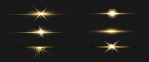 Horizontal lens flares pack. laser beams, horizontal light rays.