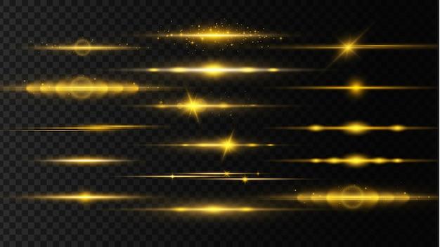 Горизонтальные линзовые блики, лазерные лучи. лучи света. линия свечения на прозрачном фоне.
