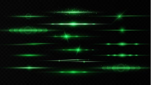 수평 렌즈 플레어 팩, 레이저 빔. 광선. 투명 배경에 글로우 라인.
