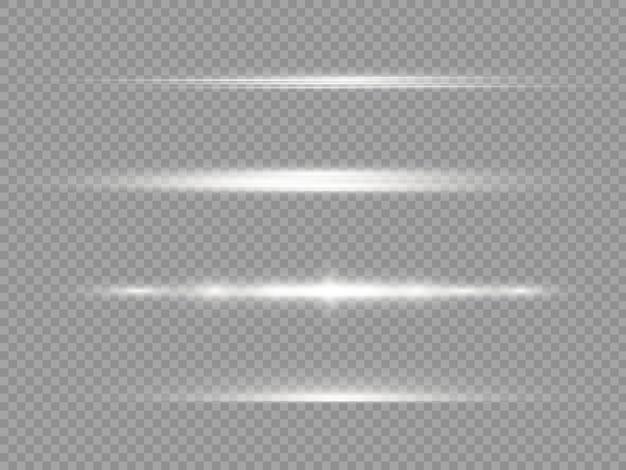 Horizontal light rays, flash white horizontal lens flares pack, laser beams.
