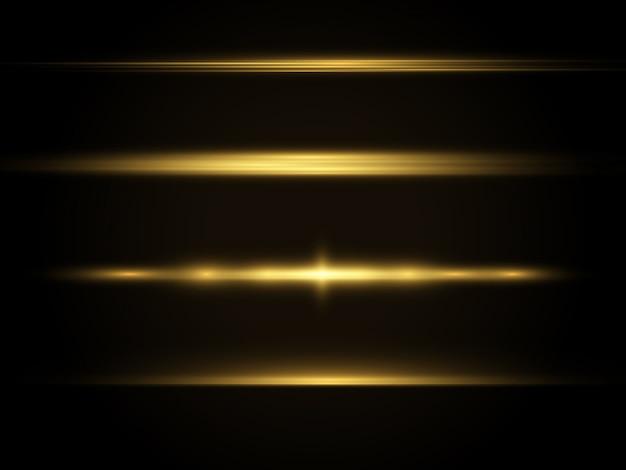 수평 광선, 플래시 노란색 수평 렌즈 플레어 팩, 레이저 빔, 글로우 옐로우 라인