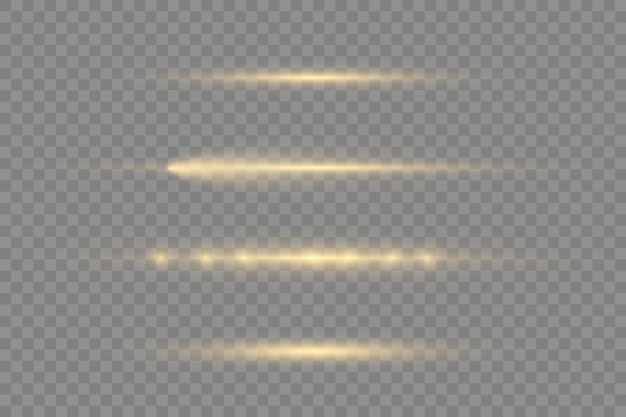 Горизонтальные световые лучи, лазерные лучи, красивые световые блики, вспышки желтых горизонтальных бликов