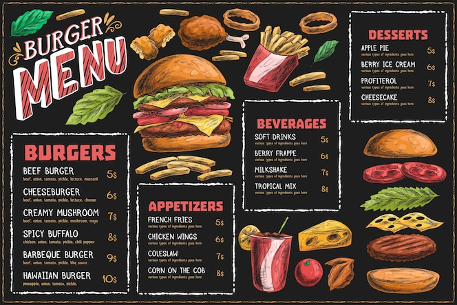 Horizontal menu template with burger and fries