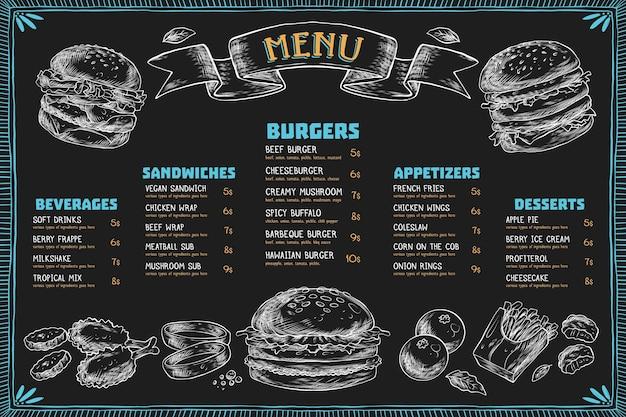 Horizontal menu template with burgers