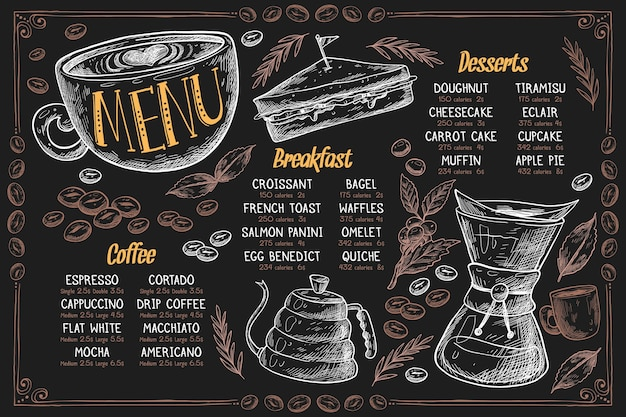 Horizontal menu template with dessert and coffee
