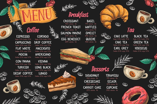 Horizontal menu template with dishes