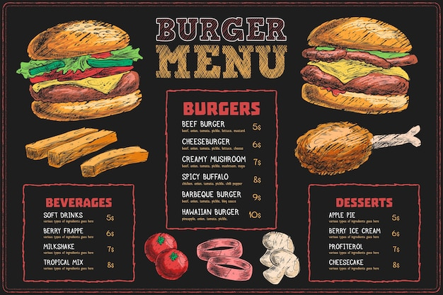 Horizontal menu template with fast food