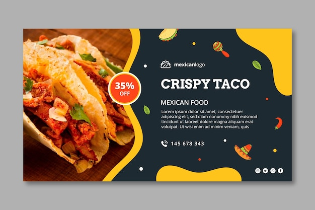 Horizontal mexican food banner template