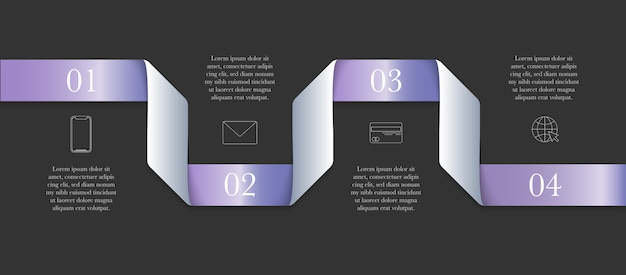 Horizontal modern infographic ribbon concept with 4 steps and place for text
