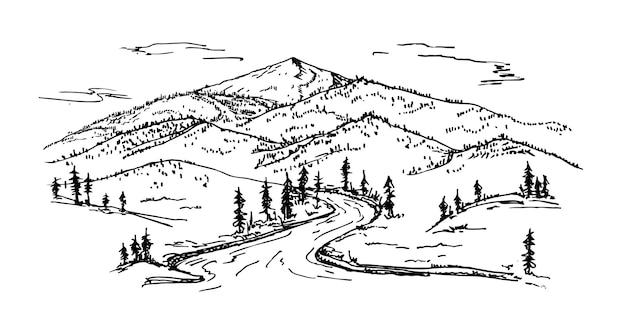 나무와 수평 산 풍경입니다. 야외 및 하이킹 개념입니다. 손 그리기 산 파노라마입니다. 스케치 벡터 일러스트 레이 션.