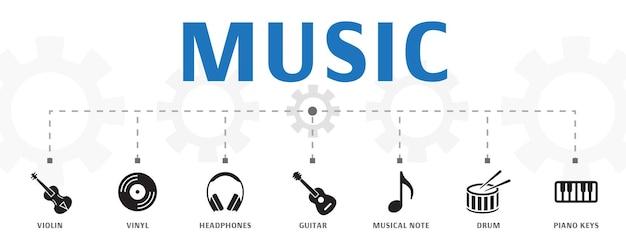 간단한 아이콘으로 수평 음악 배너 개념 템플릿입니다. 헤드폰, 비닐, 바이올린 등과 같은 아이콘이 포함되어 있습니다.