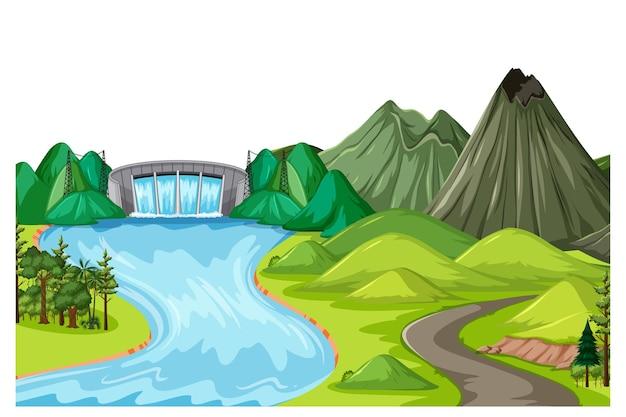 댐과 산이 있는 낮 장면의 수평 자연 풍경