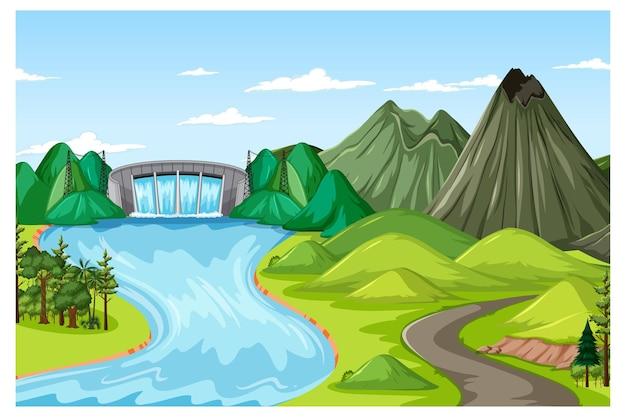 ダムと山のある昼間のシーンでの水平方向の自然の風景