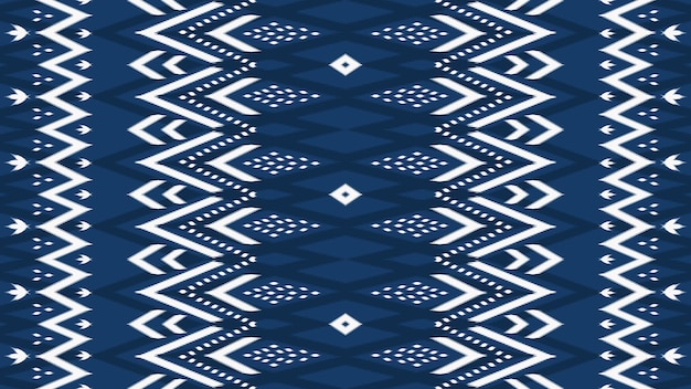 Horizontal navy blue asian ethnic geometric oriental ikat seamless traditional pattern. design for background, carpet, wallpaper backdrop, clothing, wrapping, batik, fabric. embroidery style. vector