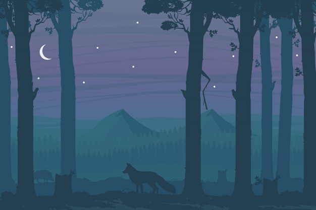 Horizontal night illustration with deciduous forest, fox